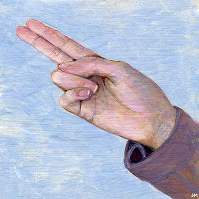 "Two-Finger Point • 6"" x 6"""