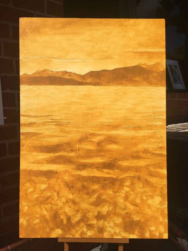 Yellow ochre, painted outside in downtown Campbell