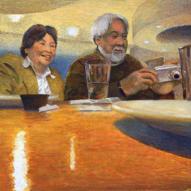 "Lena and Manny After Dinner • 12"" x 12"""