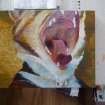 Began filling in the pinkish color of the mouth and tongue.