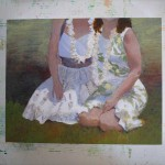 As long as I made the green for the leaves on the dress, I figured I should take a pass at the background.
