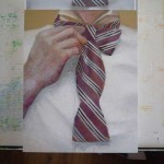 Bringing in the crisp white for the shirt and tie helps a lot.