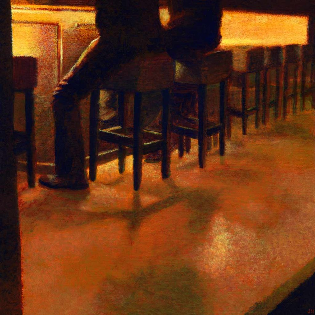 "A Seat At the Bar • 13.5"" x 13.5"""