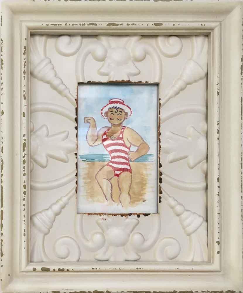 """Bathers I • 9.75"""" x 11.75"""" framed"""