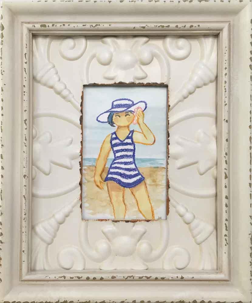 "Bathers IV • 9.75"" x 11.75"" framed"