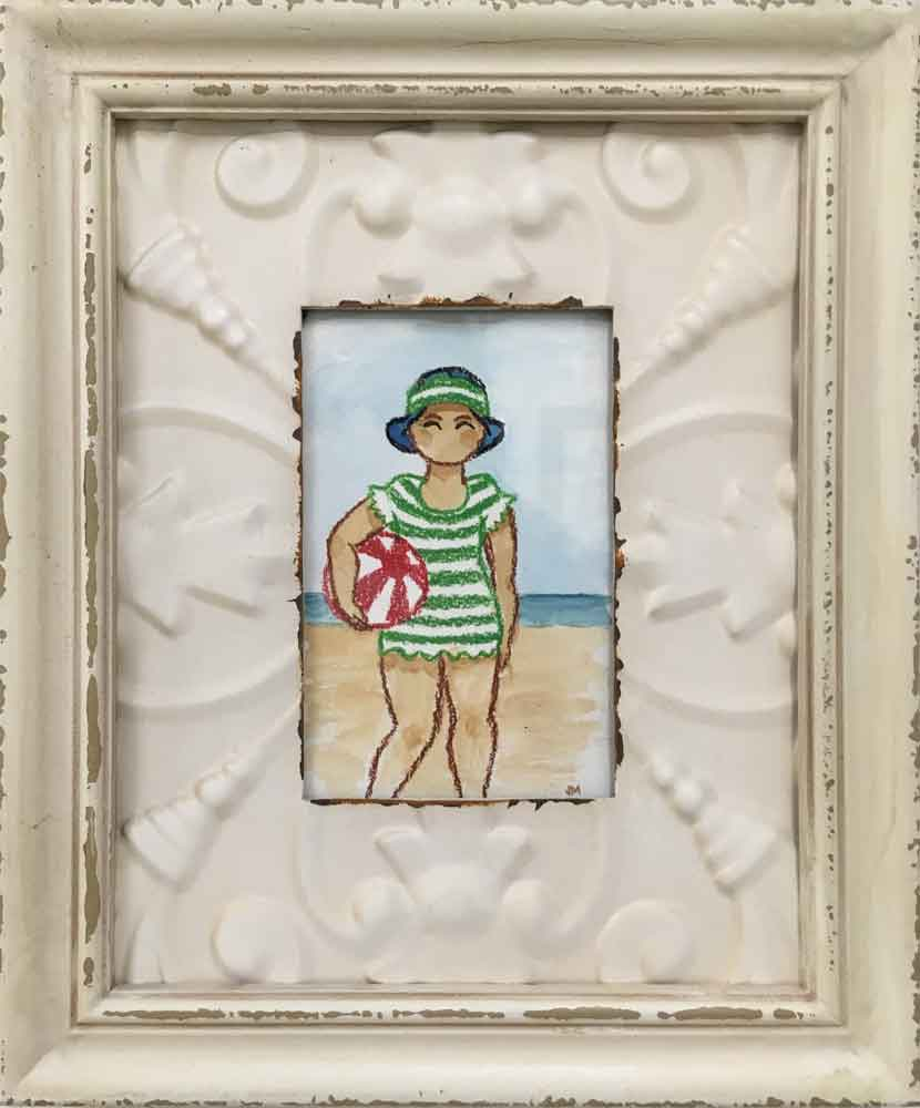 "Bathers VI • 9.75"" x 11.75"" framed"