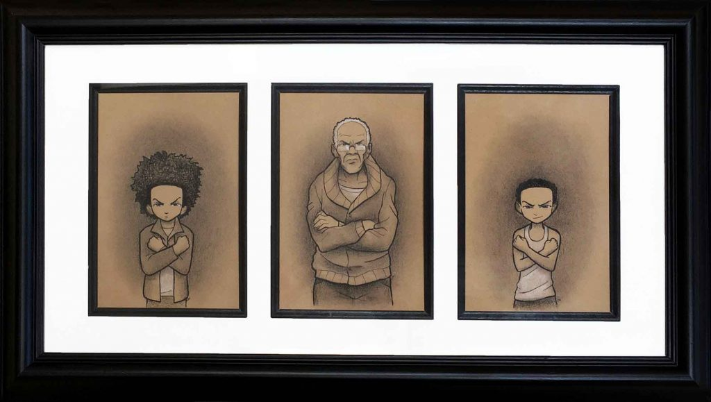 "Boondocks Triptych • 23"" x 13"" framed"