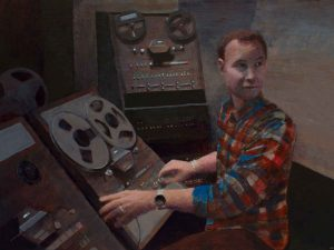 "Chris Edits the Clips • 24"" x 18"" • acrylic on canvas"
