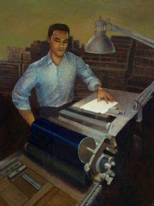 """Emilio Sets Type • 18"""" x 24"""" •acrylic on canvas"""