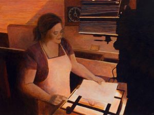 "Jillian Adjusts the Tone • 24"" x 18"" • acrylic on canvas"