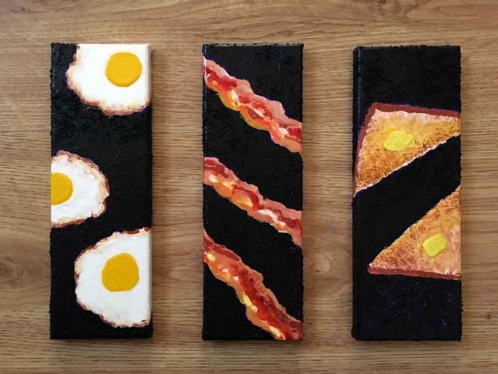 """Breakfast Triptych •4"""" x 12"""" each"""