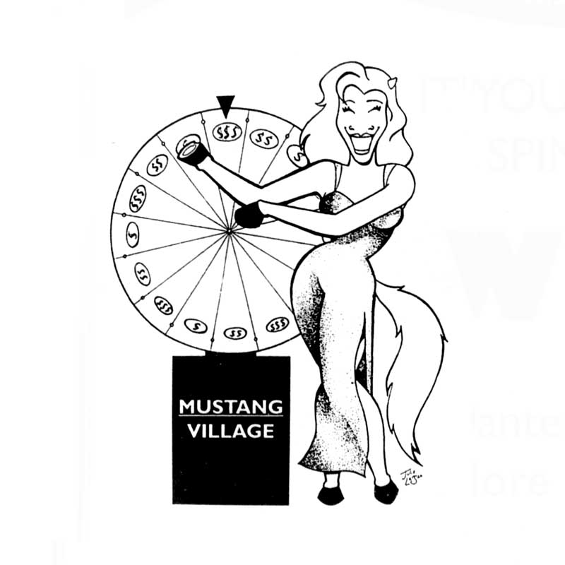 """It's Your Turn! Spin to Win at Mustang Village"""