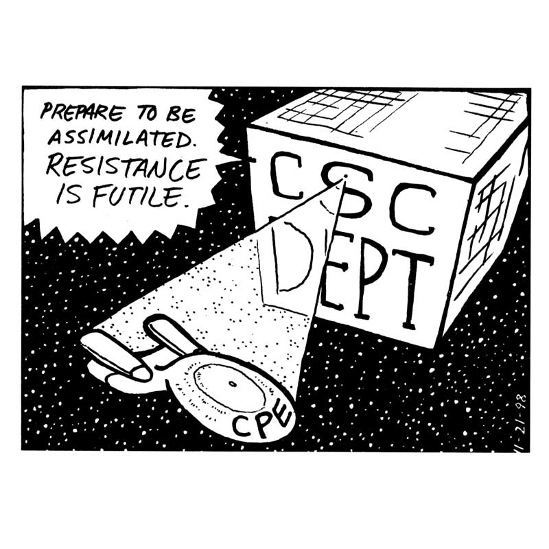 Cartoon about merging CPE into CSC Dept