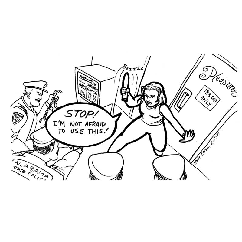Cartoon about Alabama banning vibrators