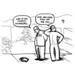 Cartoon about awareness seen as graffiti