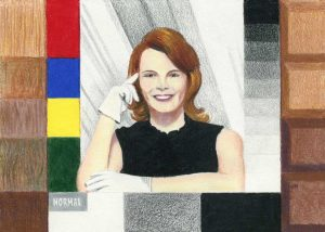 """Shirley Card Distortion • 7"""" x 5"""" • colored pencil on paper"""