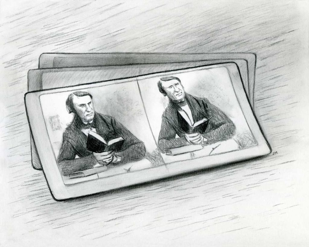 "Stereograph Selfie • 10"" x 8"" • charcoal on paper"