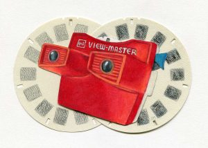 "The View-Master • 7"" x 5"" • colored pencil on paper"