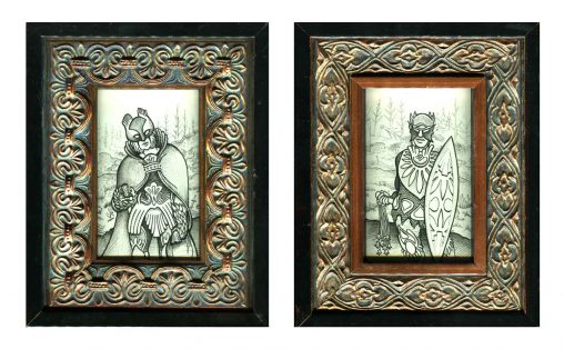 "Bronze Warriors I & II • 7 7/8"" x 9 7/8"" framed"