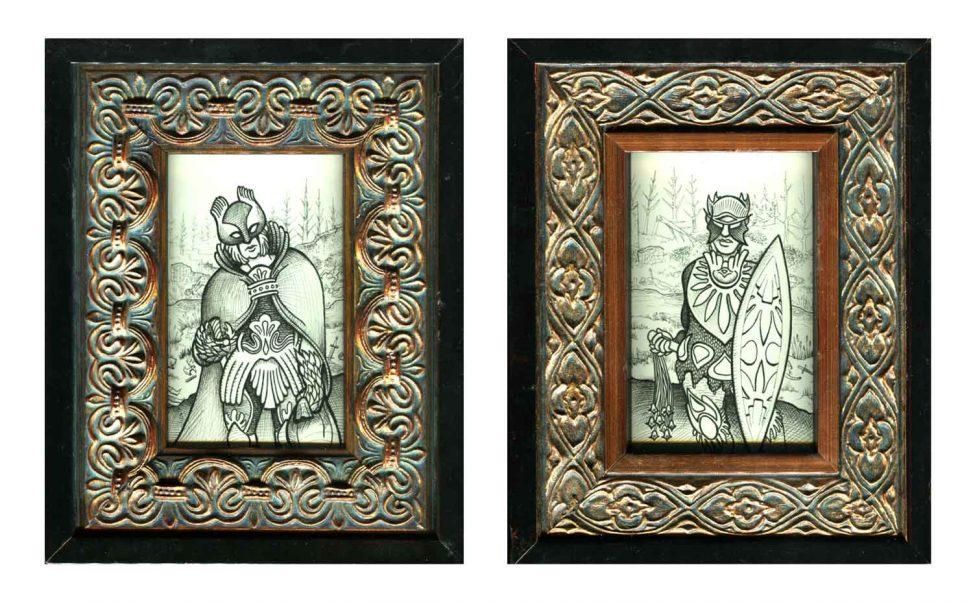 """Bronze Warriors I & II •7 7/8"""" x 9 7/8"""" framed"""