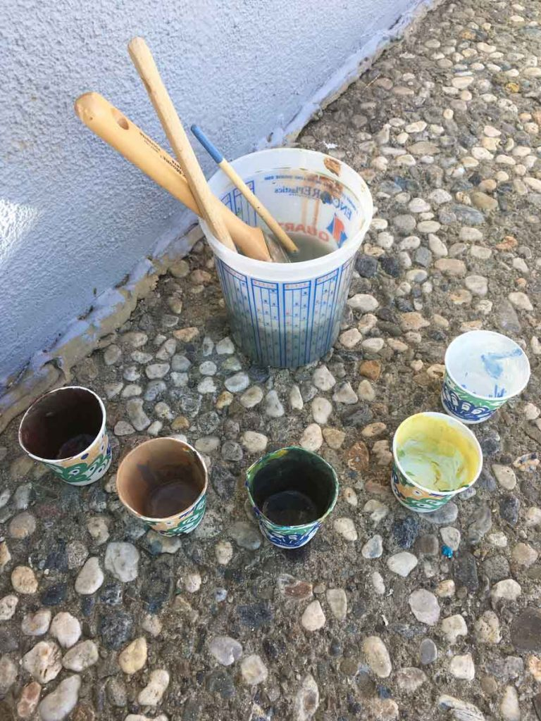 Paper cups & donated paint