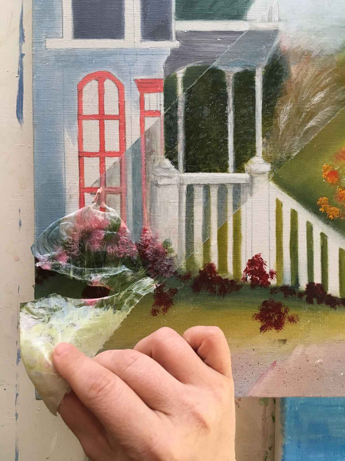 Total paint rejection. On the other hand, acrylic binds pretty well to itself.